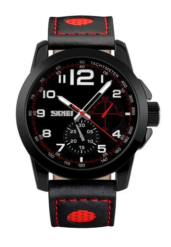 Digitec black Skmei - Jam Tangan Pria - Black - Leather Strap - 9111-E 1B9C0AC471D52DGS_1
