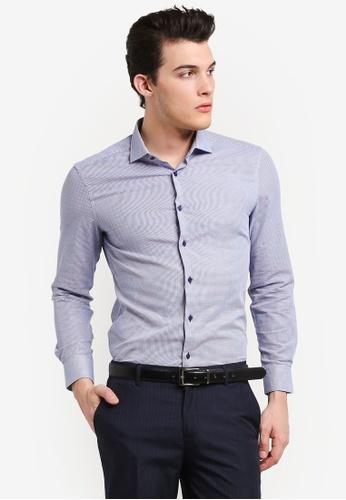 G2000 navy Dot Pattern Long Sleeve Shirt G2754AA0RIKNMY_1