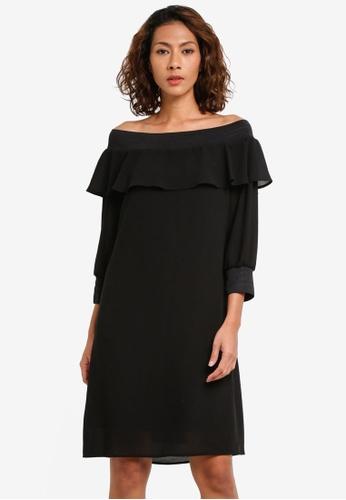 Sisley black Off-Shoulder Ruffled Dress 1BC10AA5AF883AGS_1