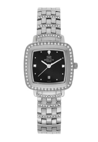 Roscani silver Roscani Laura B62 (Triangle Wave Dial) Stainless Steel Black Bracelet Women Watch 6E0C9AC973103FGS_1
