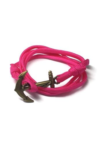 Splice Cufflinks pink Ballast Series Bright Pink Nylon Matt Gold Anchor Bracelet SP744AC98XDTSG_1