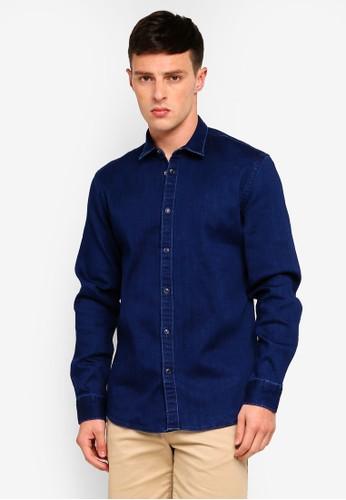 Only & Sons blue Long Sleeve Jog Denim Shirt E62B8AA8159250GS_1