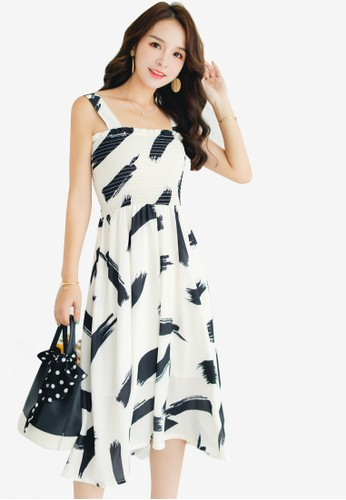Shopsfashion black and white Printed Midi Flare Dress A3A4AAA0ECDA9DGS_1