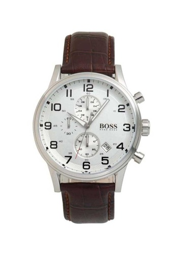 Hugo Boss Silver And Brown Leather Watch