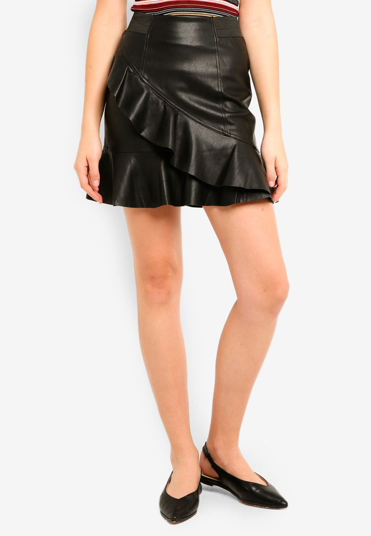 Moda Black Vero Cruz Skirt Leather Short Faux 4FCdRwq