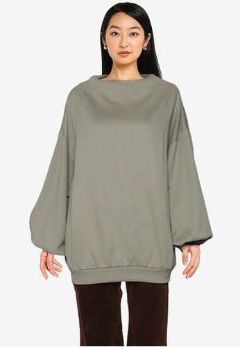 LOWRYS FARM green Puff Sleeve Sweatshirt CBCF3AA9383D5BGS_1