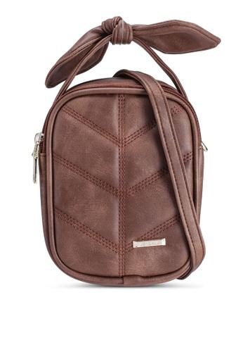 Verchini brown Mini Sling Bag With Bow 09E60AC8815ADBGS_1