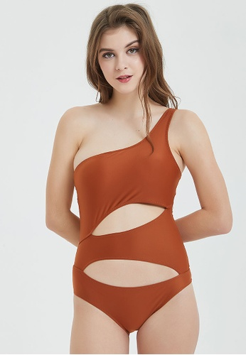 Shapes and Curves brown One Shoulder Suit Cut- out One Piece Swimwear 9BE28US5DF78D2GS_1