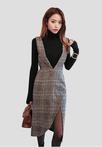 格子背帶不對稱連衣裙, 服飾, 及zalora 手錶 評價膝洋裝
