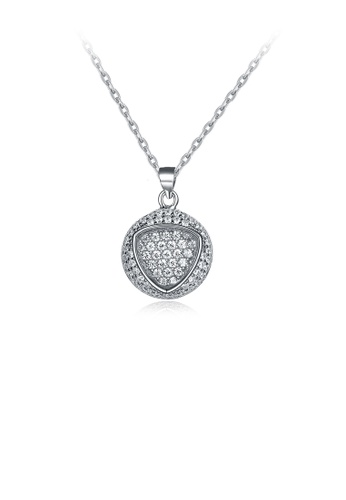 Glamorousky white 925 Sterling Silver Elegant Fashion Round Brilliant and Triangle Pendant Necklace with Cubic Zircon Pendant Necklace with Cubic Zircon A5CE5AC90BECD3GS_1