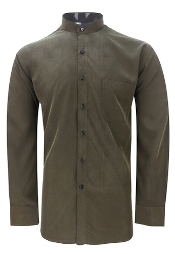 Pacolino green Pacolino - Mandarin Collar Striped Formal Casual Long Sleeve Men Shirt EB940AAF509FF2GS_1