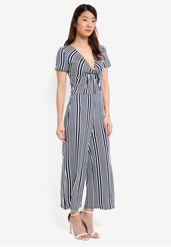 Miss Selfridge multi and navy Striped Knot Front Jumpsuit F3D58AA7183C98GS_1
