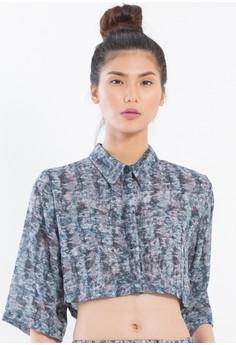 [PRE-ORDER] Digital Printed Silk Chiffon cropped button down