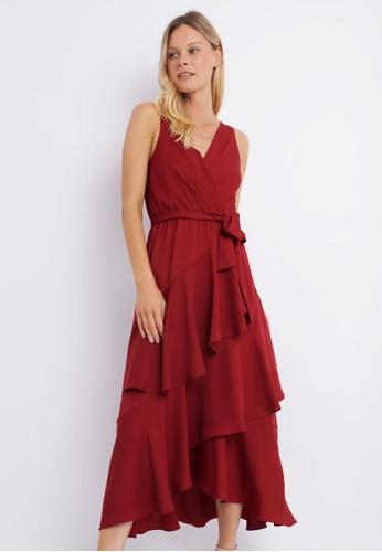 FORCAST red FORCAST Dani Ruffle Maxi Dress 5A7B7AA849C381GS_1