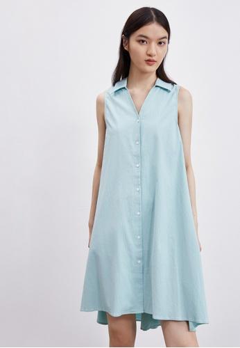 URBAN REVIVO green A-line Shirt Dress 7003DAA4ED932EGS_1