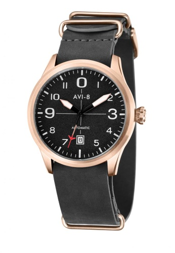AVI-8 black Flyboy Men's Leather Strap Watch AV642AC54JWFPH_1
