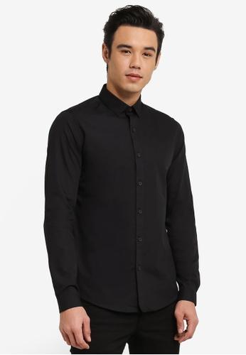 Topman 黑色 Black Slim Fit Smart Shirt TO413AA0RFPPMY_1