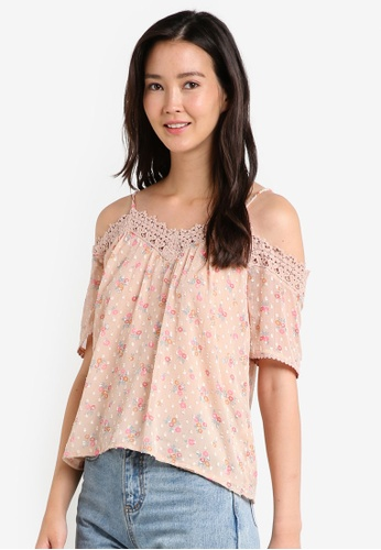 Miss Selfridge pink and multi Nude Printed Cold Shoulder Top MI665AA24JXVMY_1