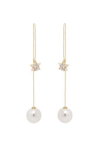 Jaysa Collection gold Pearl Dangle Earrings With Crystal Star Ornament JA875AC0GI03SG_1