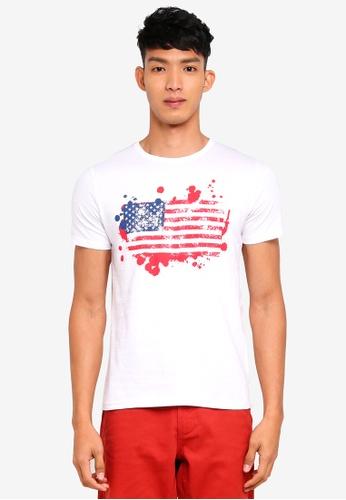 OVS 白色 短袖印花T恤 48605AA50D2AC2GS_1