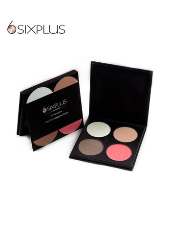 SIXPLUS brown and pink and multi and beige SIXPLUS 4 Color Highlighter Face Powder Palette 0BD37BEE0A0BB8GS_1