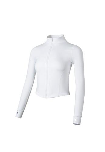 VIVIESTA SPORT white Elegant White Turtleneck Cropped Jacket 6B82DAA6F2F81EGS_1