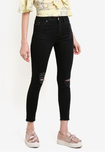 Miss Selfridge black Petite Lizzie Busted Hem Jeans MI665AA57UMOMY_1