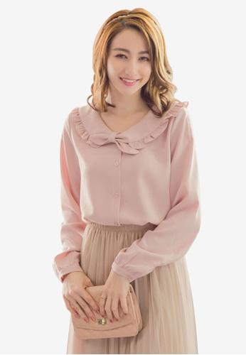 YOCO pink Peter Pan Ruffled Blouse 3F451AA8335919GS_1