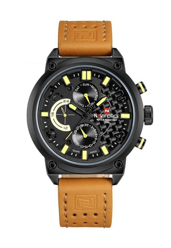 Naviforce brown Naviforce Black and Brown Leather Watch 6A1EBACBF96D2BGS_1