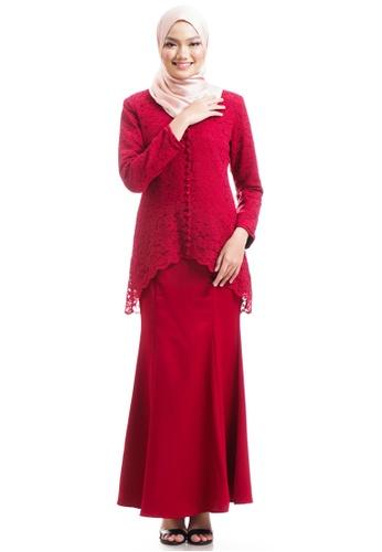 Ashura red Keesha Kurung With Back Fish Tail B9F06AA4AF0A22GS_1