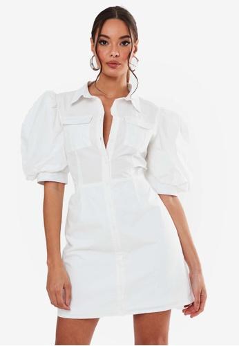 MISSGUIDED white Poplin Puff Sleeve Utilty Shirt Dress 5AD09AA5A171D8GS_1