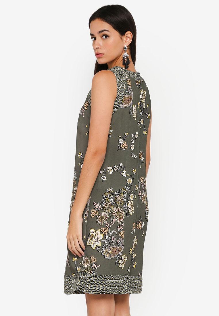 Shift Wallis Khaki Olive Printed Khaki Dress Pqcw57O
