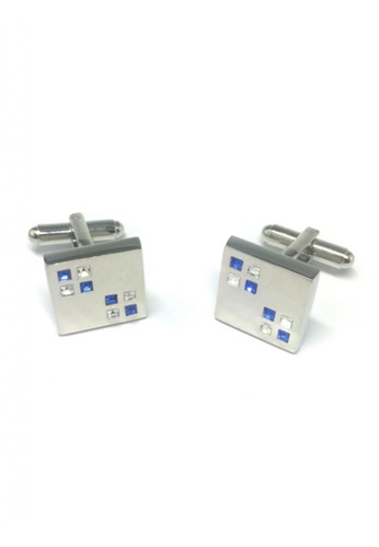 Splice Cufflinks silver Blue and White Small Crystals Square Cufflinks SP744AC65FRESG_1