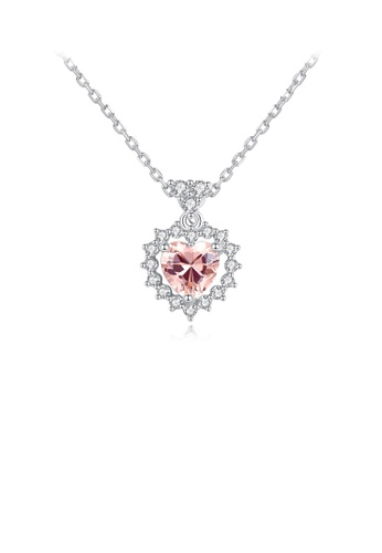 Glamorousky pink 925 Sterling Silver Fashion Romantic Heart-shaped Pink Cubic Zirconia Pendant with Necklace 7AAAAAC6643428GS_1