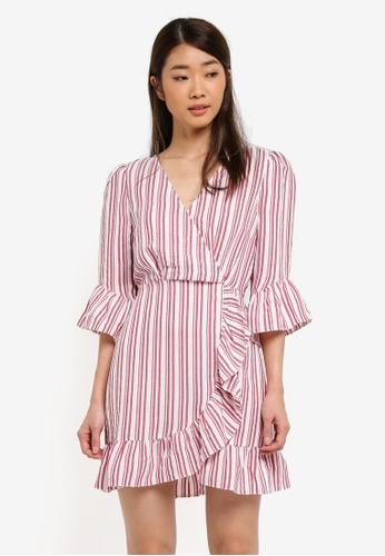 Miss Selfridge red Red Stripe Frill Dress 2BEE3AA75298AEGS_1
