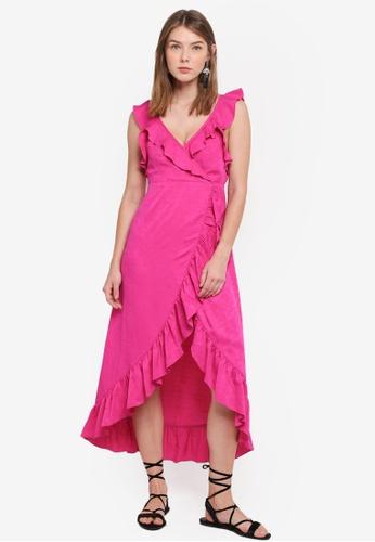 TOPSHOP pink Jacquard Ruffle Wrap Midi Dress 626CBAAC9B5554GS_1