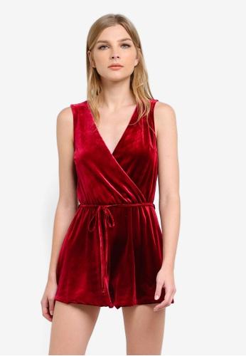 Miss Selfridge red Burgundy Velvet Playsuit MI665AA0S6FSMY_1
