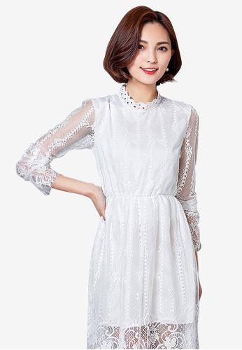 Lara white Elastic waist Long sleeves One piece Dress 60906AA01FF5A8GS_1