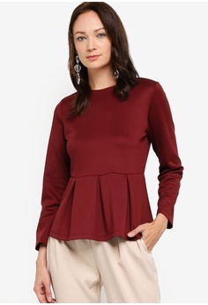 fe88572a97f ZALIA BASICS red Long Sleeves Peplum Top 92AD3AA15871CEGS_1