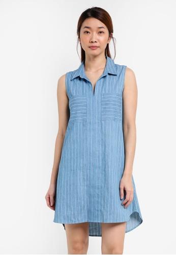 Something Borrowed blue Sleeveless Utility Shirt Dress 57A4EAAD23207BGS_1