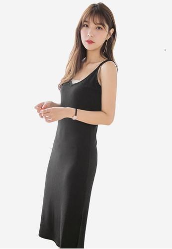 Sesura black Sleek Knit Ribbed Dress 775B9AA26B698FGS_1