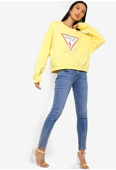 7c9476d251 30% OFF Guess Guess Icon Triangle Logo Cropped Sweatshirt RM 399.00 NOW RM  278.90 Sizes S M