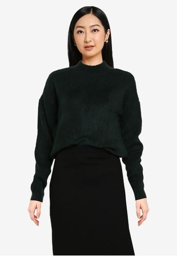 Noisy May green Ella Long Sleeves O-neck Knit Sweater 67ED1AA0D33CE3GS_1