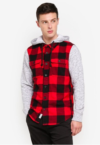 Hollister red and multi Long Sleeve Flannel Hood Pattern Shirt A0822AA2918CD0GS_1