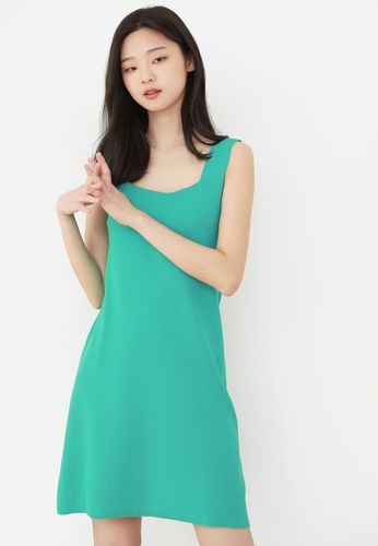 NAIN green Square Neck Knit Dress 01FB7AA8C4D90AGS_1