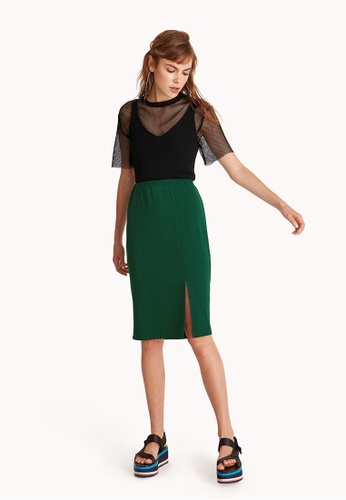 Pomelo green Midi High Waist Pencil Skirt - Green DBC25AA324C372GS_1