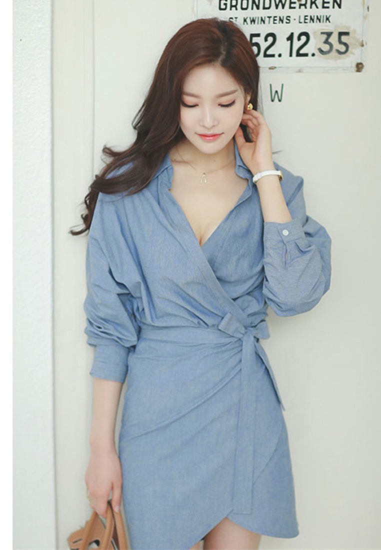 Mini Dress 2017 Mid F W Wrapped A083117 Sunnydaysweety Sleeves Blue Blue WY0rYwtq