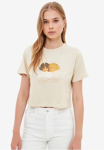 Trendyol beige Graphic Crop T-Shirt B4C32AA3E3D9E4GS_1