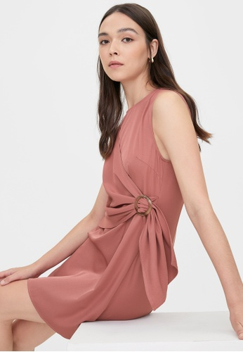 Pomelo pink Round Neck Side Buckle Wrap Dress - Pink 35C67AA90E4AD8GS_1