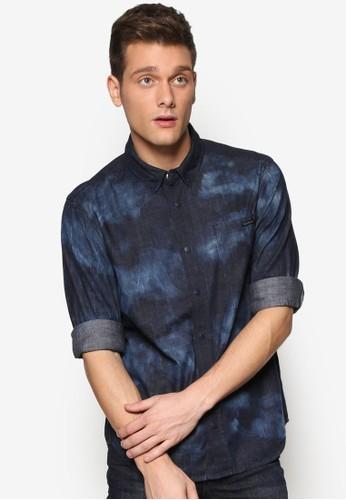 Cosmic 印花修身長袖襯衫, 服飾, 襯esprit地址衫